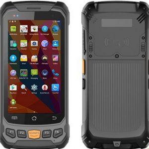 Terminal portátilo android ( PDA) con lectura/grabación de rfid uhf integrada, vistas anterior y posterior