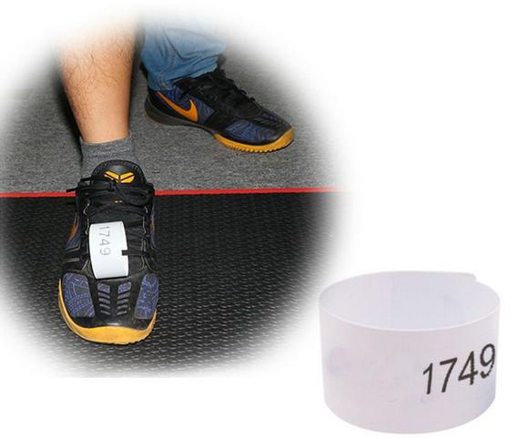 Tag de zapatilla para corredores de carreras populares, maratones, etc.